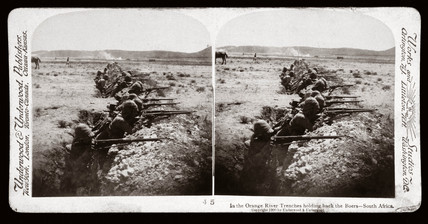 'In the Orange River Trenches holding back the Boers - South Africa', 1900.