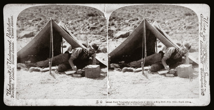 'British Field Telegrapher sending news of victory at Klip Drift, South Africa', 1900.