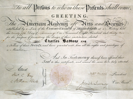 Diploma from the American Academy of Arts and Sciences, 1832.