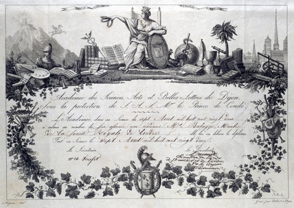 Diploma from the Academy of Sciences, Arts and Letters, 1822.