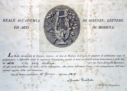 Diploma from the Academy of Sciences, Letters and Arts, 1828.