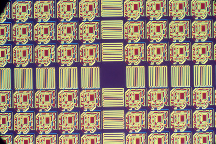 Silicon wafer, light micrograph, 1990s.