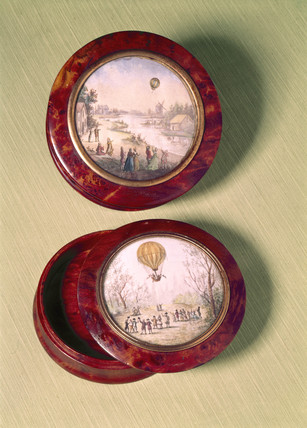 Hot-air balloons over countryside, 1785-1795.