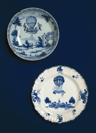 Ballooning scenes on china, late 18th century.