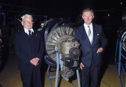 Sir Frank Whittle, English engineer, with Roy Fowkes, c 1988.