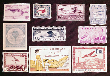 International postage stamps with an aviation theme, 1877-1933.