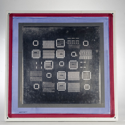 Laser-cut screen for circuit board, 1992-1996.