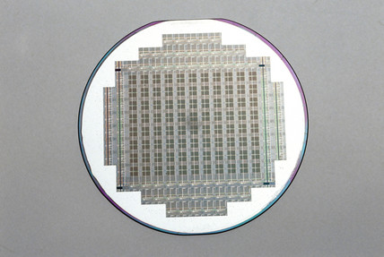 Silicon wafer with silicon chips, 1984.