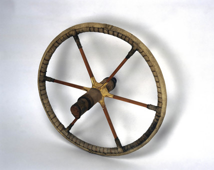 Egyptian chariot wheel, c 1400 BC.