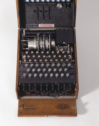 Three-ring Enigma cypher machine in wooden transit case, c 1930s.