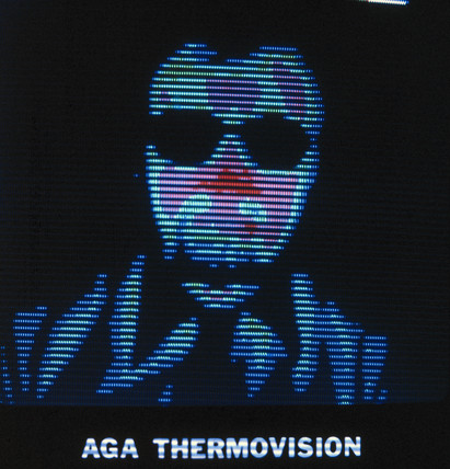 Thermal image of a person with glases, c 1980s.