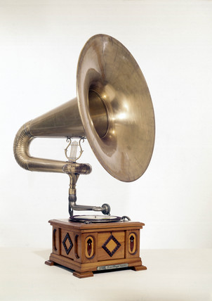 Early phonograph-disc machine.