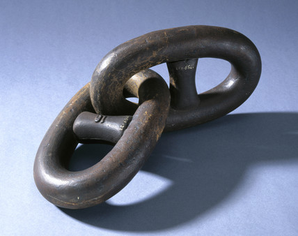 Two links of anchor chain forged from puddled iron, 1780-1869.
