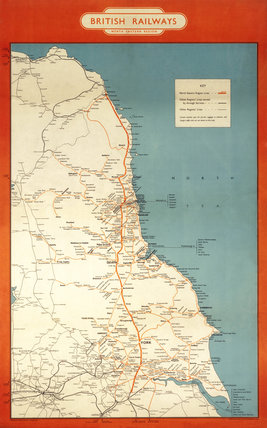 Map of North East Regional Network, c 1950s.