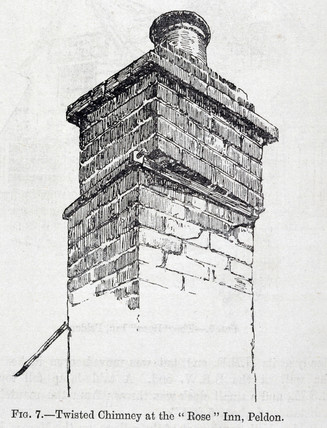 Twisted chimney of Rose Inn, Peldon, after the East Anglian earthquake, 1884.