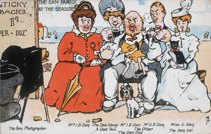 'The Dam Family at the Seaside', postcard, c 1919.