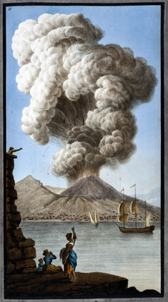 An eruption of Mount Vesuvius as seen from Posillipo, Kingdom of Naples, 9 August 1779.