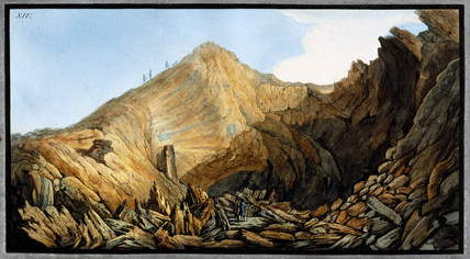 Crater inside the 'little mountain' cone, Mount Vesuvius, Kingdom of Naples, c 1761.