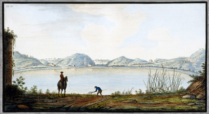 The Lake of Agnano, an ancient volcanic crater, Kingdom of Naples, c 1760.