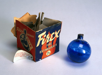 Firex glas ball fire extinguisher with original packaging, 1901-1970.