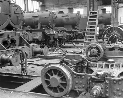 Locomotive workshop at Old Oak Common, London, 1959.