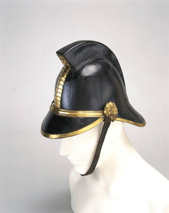 Firefighting helmet, c 1880-1920.
