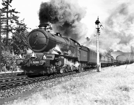 King George V' steam locomotive No.6000, a 'King' Class engine, travelling on the down Cornish Riviera, 1945.