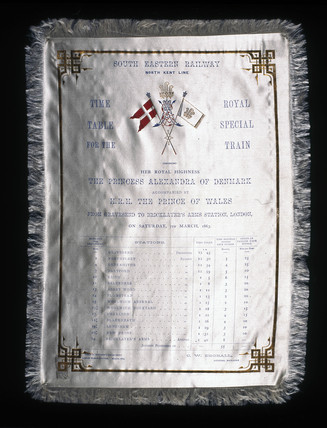 White silk timetable for the South Eastern Railway, March 1863.