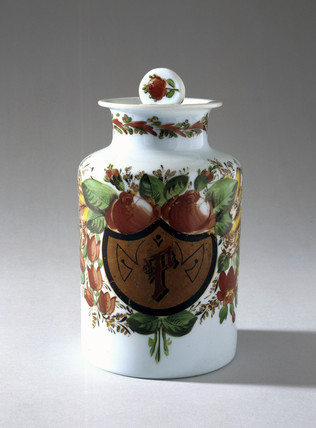 White glas jar with stopper.