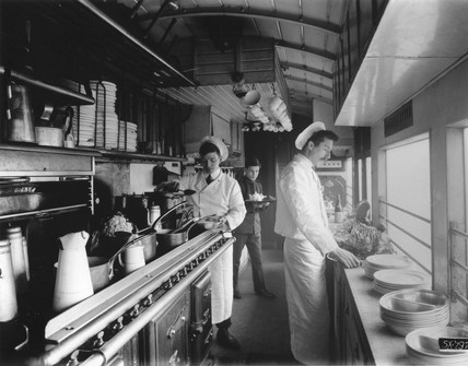 Kitchen car on the Great Eastern Railway's Norfolk Coast Expres, 1910.