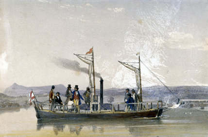 Patrick Miller's first steamboat, 1788.