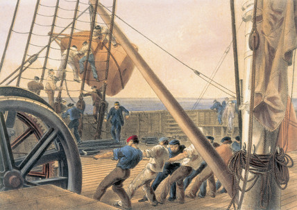 'Releasing One of the Large Buoys', 1866.