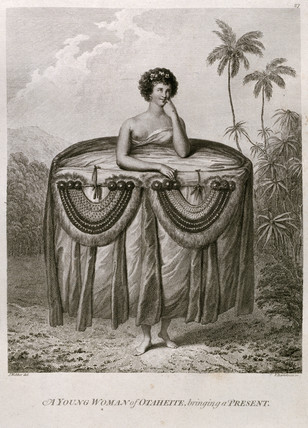 'A Young Woman of  Otaheite, bringing a Present', c 1773.