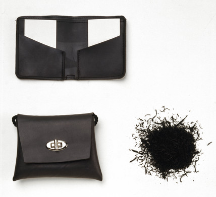 Wallet and shoulder bag made from recycled rubber, 1996.