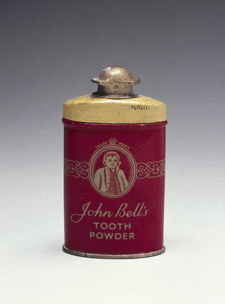 Tin of John Bell's toothpowder, c 1930-1960.