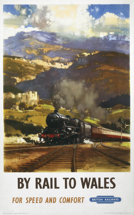 'By Rail to Wales', BR poster, c 1960.