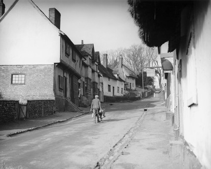 The main street of Kersey in Suffolk, 29 January 1934.