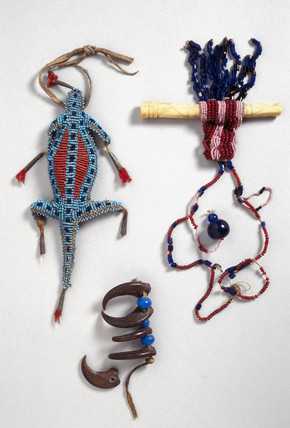 Two necklaces and an amulet, USA and Alaska, c 1850-1920.