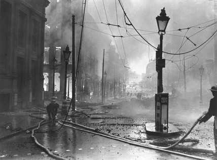 Firefighting during the Blitz, 1941.