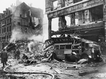 A bombed bus, Holborn, London, Second World War, c 1940.