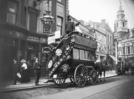 Horse-drawn open-topped bus in Hammersmith, West London, c 1910s.