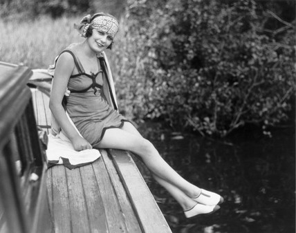 Woman in a bathing costume, c 1920s.