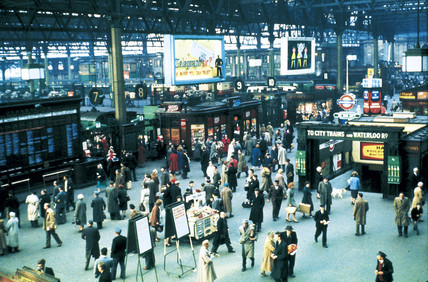 Waterloo Station concourse, London, February 1961.