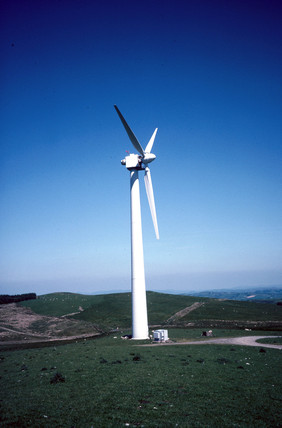 Turbine at a wind farm in Wales, 25 June 1997.