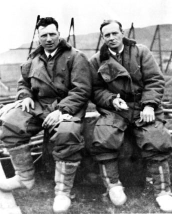 Alcock and Brown in flying suits, c 1919.