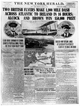 Front page of the New York Herald, 16 June 1919.