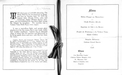 Menu for the 'Daily Mail' Alcock and Brown Luncheon, 1919.