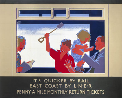 'It is Quicker by Rail - East Coast by LNER', LNER poster, c 1930.