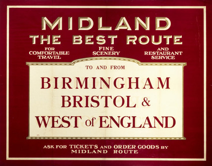 'Midland - The Best Route', Midland Railway poster, c 1920s.