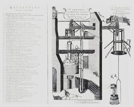 Newcomen's steam engine at Dudley Castle, West Midlands, 1719.